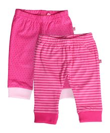 Buzzy Full Length Track Pants Set Of 2 - Pink Multicolor