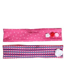 Buzzy Head Bands Printed Set Of 2 - Pink Multicolor