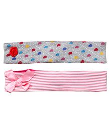 Buzzy Head Bands Printed Set Of 2 - Pink Grey