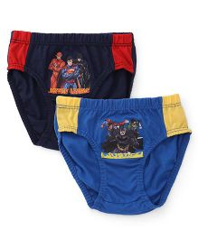 Justice League Printed Briefs Pack Of 2 - Blue Red & Yellow