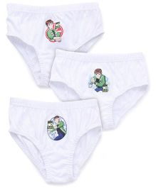 Ben 10 Briefs Set Of 3 White (Prints May Vary)