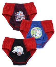 Doraemon Briefs With Print Set Of 3 - Red