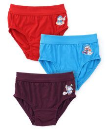 Doraemon Printed Briefs Pack Of 3 - Red Blue & Dark Purple