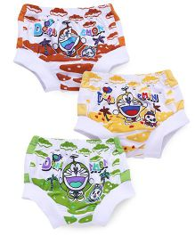 Doraemon Briefs White Base Pack of 3 - Red Yellow Green