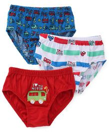Red Rose Briefs I Love My Motor Print Pack Of 3 - Blue White Red