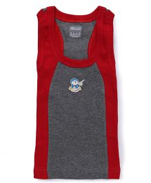 Doraemon Print Sleeveless Vest - Light Grey Red