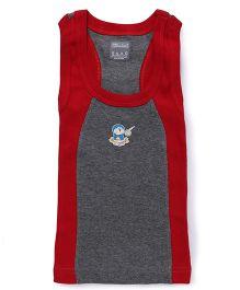 Doraemon Print Sleeveless Vest - Light Grey Red