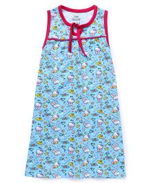 Hello Kitty Printed Sleeveless Nighty - Blue