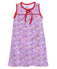Hello Kitty Printed Sleeveless Nighty - Purple