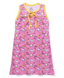 Hello Kitty Printed Sleeveless Nighty - Pink