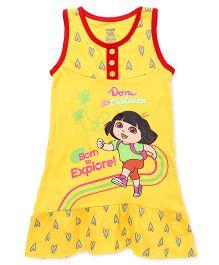 Dora Printed Sleeveless Nighty - Yellow