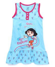 Dora Printed Sleeveless Nighty - Blue