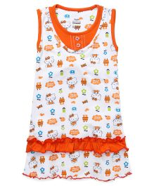 Hello Kitty Printed Sleeveless Nighty - White Orange
