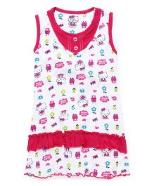 Hello Kitty Sleeveless Night With All Over Print - White & Fuchsia