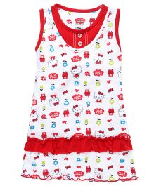 Hello Kitty Printed Sleeveless Nighty - White Red
