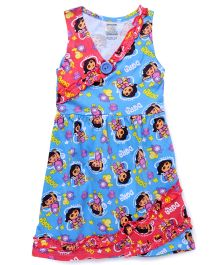 Dora Printed Sleeveless Nighty - Blue Pink