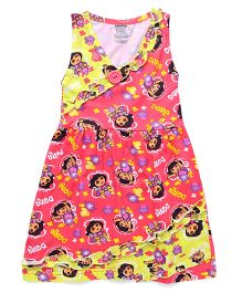 Dora Sleeveless All Over Print Nighty - Pink Yellow