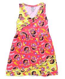 Dora Printed Sleeveless Nighty - Yellow Pink