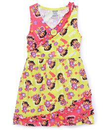 Dora Sleeveless Nighty All Over Printed - Yellow
