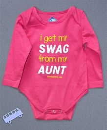 Blue Bus Store Aunt Printed Full Sleeves Onesie - Pink
