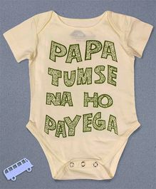 Blue Bus Store Papa Tumse Na Ho Payega Printed Onesie - Cream