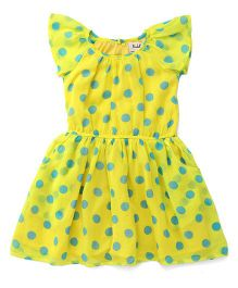 Pinehill Short Sleeves Frock Polka Dots Print - Yellow Green