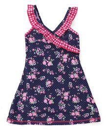 Pinehill Sleeveless Frock Swimsuit Floral Print - Navy