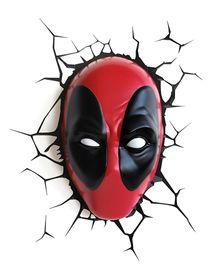 3D Light Deadpool Mask - Red And Black