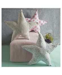 BOBTAIL by Misha's Creation Stars Design Cushion Set of 3 - Blue Off White Pink