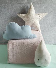 BOBTAIL by Misha's Creation Cloud Drop Star Design Cushion Set of 3 (C) - Blue White