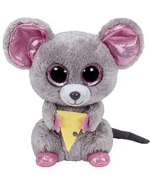 Jungly World Squeaker Mouse With Cheese Soft Toy Grey - 6 Inches