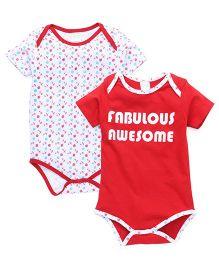 Babyhug Half Sleeves Onesie Pack of 2 - Red & White