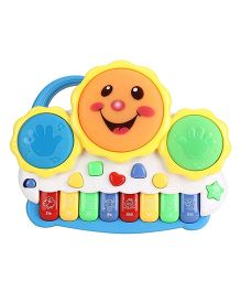 Emob Electronic Drum Plus Organ Keyboard With Flashing Lights and Melodious Music - Multicolor