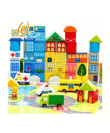 Emob Colorful Wooden City Blocks Puzzle Multicolor - 62 Pieces