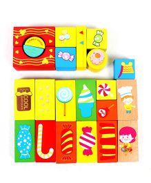 Emob Wooden Happy Farm Building Blocks Multicolor -  52 Pieces