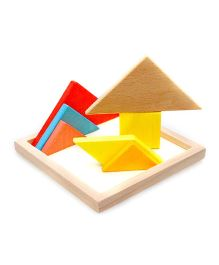Emob Wooden Colorful Tangram Puzzle Learning Game - 7 Pieces