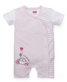 Babyhug Half Sleeves Romper Car Embroidery - Light Pink White