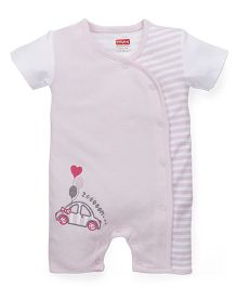Babyhug Half Sleeves Romper Car Embroidery - Light Pink White