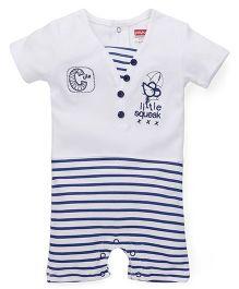 Babyhug Half Sleeves Romper Rat Embroidery - White Blue