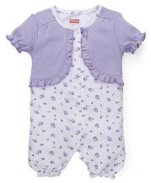 Babyhug Puff Sleeves Romper Floral Print - White Purple