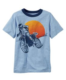 Carter's Motorcycle Graphic Ringer Tee - Sky Blue