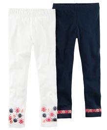 Carter's 2-Pack Stretch Leggings - White Navy Blue