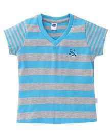 Teddy Short Sleeves Stripe Top - Blue Grey