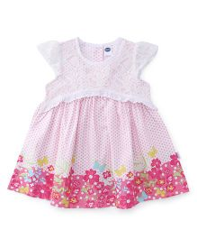 Teddy Cap Sleeves Frock Floral Design - White Pink
