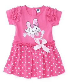 Teddy Short Sleeves Frock Bow Applique - Pink