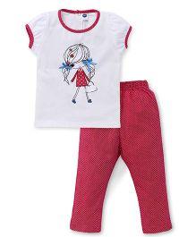 Teddy Short Sleeves Top And Leggings Night WearSet - Dark Pink White
