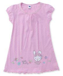 Teddy Short Sleeves Night Wear Bunny Print - Pink