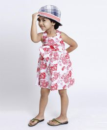 Pixi Cool Floral Summer Bodice Dress - White & Pink