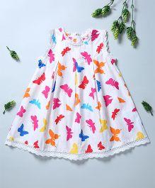 Pixi Cute Butterfly Print Shift Dress - White