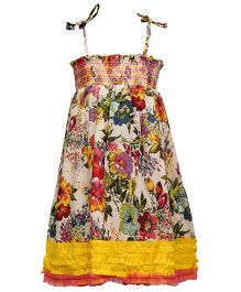 Pixi Lovely Singlet Floral Shirring Dress - Multicolour